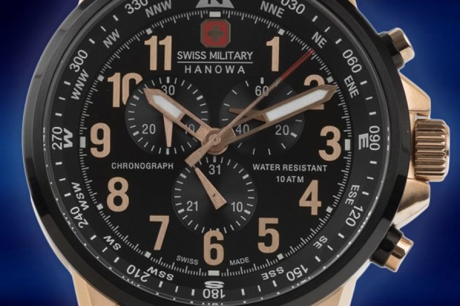 Swiss Military Hanowa 46mm Leather Chronograph met gratis verzending | 06-4297.09.007
