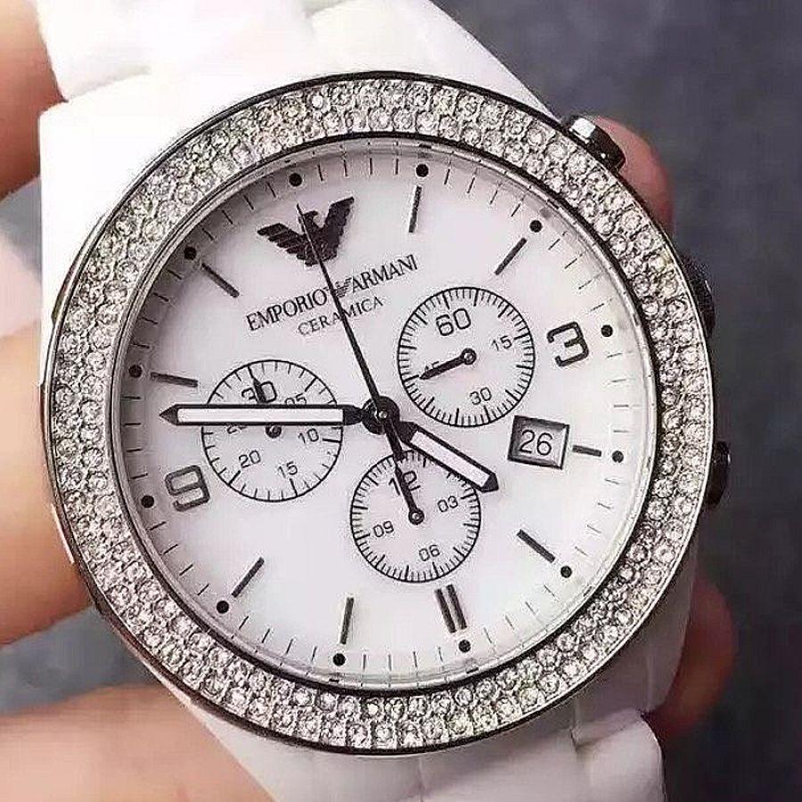 Emporio armani ceramica ladies chronograph ar1456 aanbieding watch2day for Ceramica chronograph