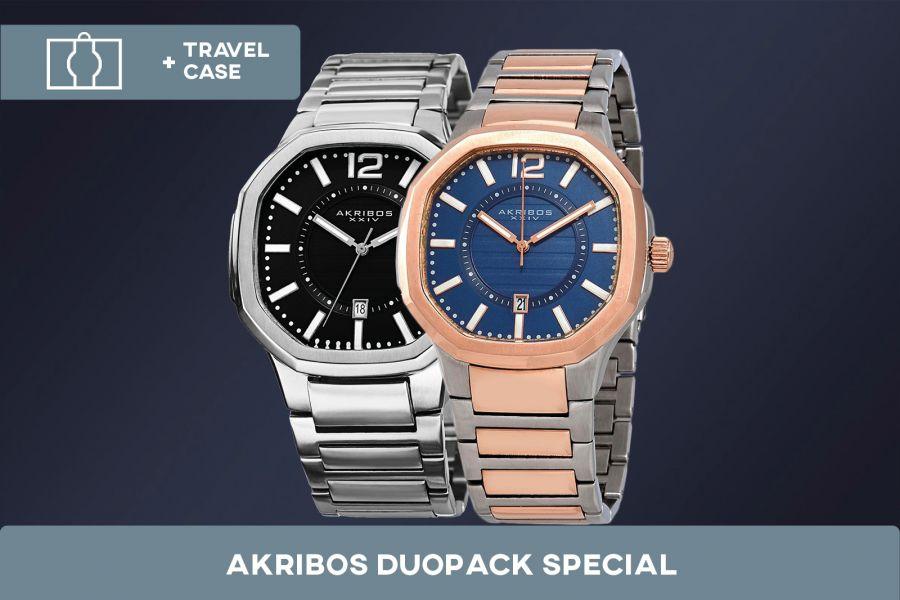Akribos XXIV Edelstalen Duopack met gratis travelcase   AK712SSB+ AK712TTR