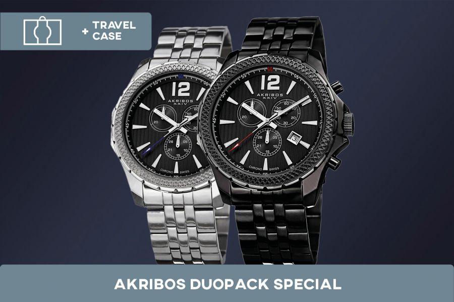 Akribos XXIV Swiss Chronograph Duopack met gratis travelcase | AK662BK + AK662SSB