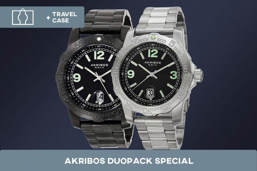 Akribos XXIV edelstalen horloges duopack met gratis travelcase |  AK696BK + AK696SSB