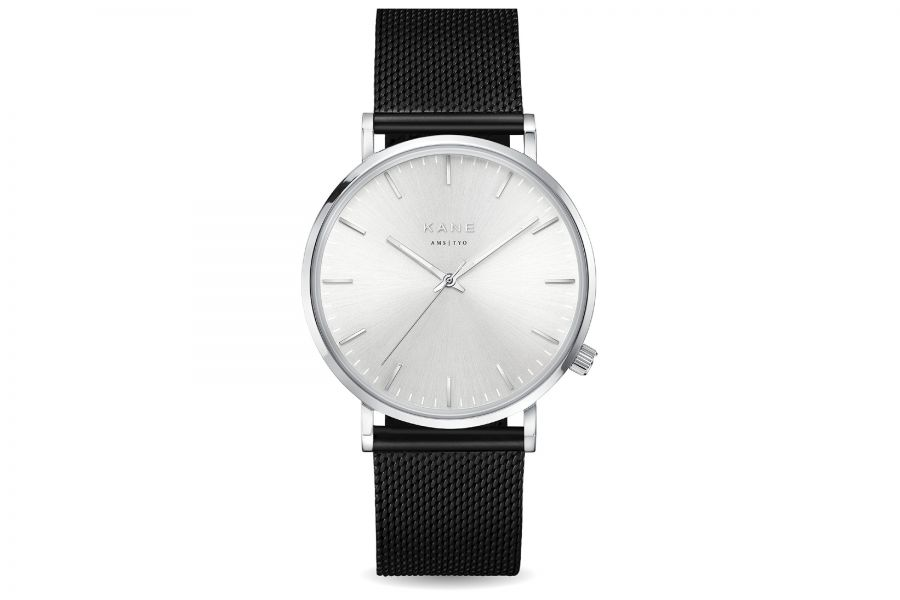 Kane Watches | Silver Steel Black Mesh | Snelle levering