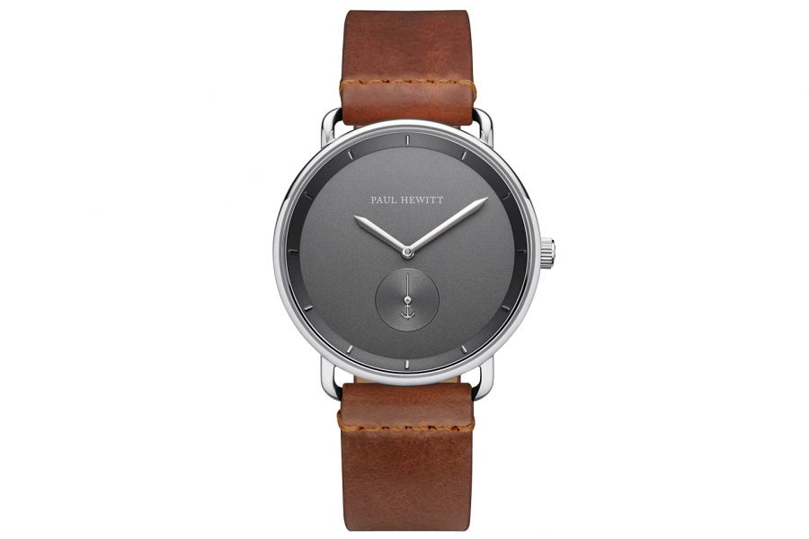 Paul Hewitt PH Breakwater Iron Grey SS Leather Strap Mid Brown 42mm PH-BW-S-IG-57M