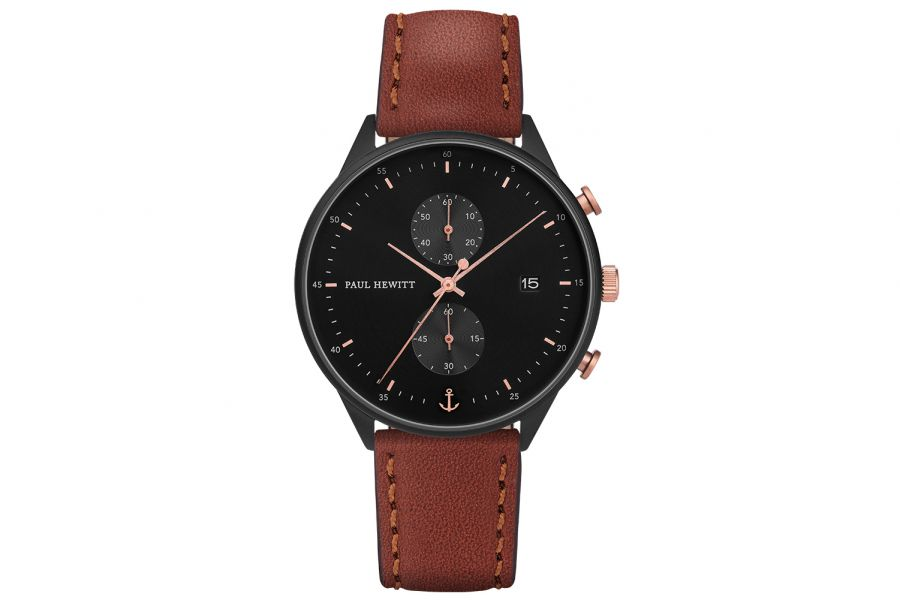 Paul Hewitt PH Watch Chrono Line Black IP Black/Rosegold Leather Br 42mm PH-C-B-BSR-1M