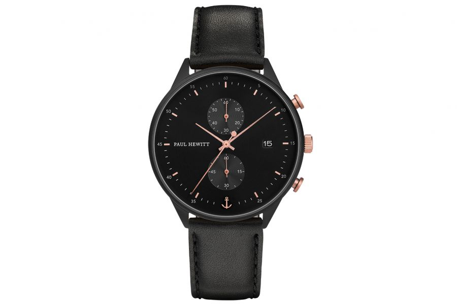 Paul Hewitt PH Watch Chrono Line Black IP Black/Rosegold Leather Bl 42mm PH-C-B-BSR-2M