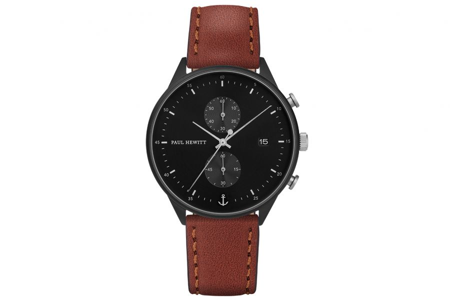 Paul Hewitt PH Watch Chrono Line Black IP Black/SS Leather Brown 42mm PH-C-B-BSS-1M