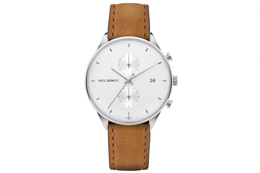 Paul Hewitt PH Watch Chrono Line White Sand SS Leather Strap Mustar 42mm PH-C-S-W-49M