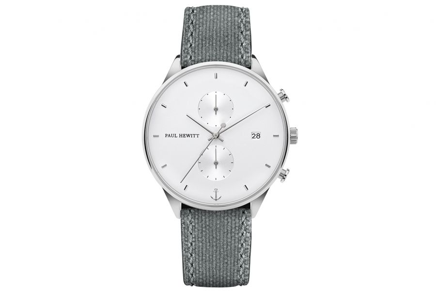 Paul Hewitt PH Watch Chrono Line White Sand Stainless Steel Canvas 42mm PH-C-S-W-51M