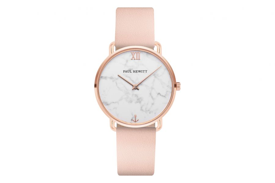 Paul Hewitt PH Miss Ocean Marble IP Rose Gold Leather Strap Nude 33mm PH-M-R-M-30S