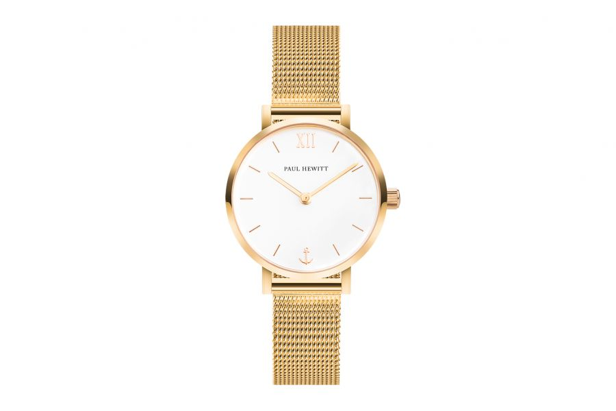 Paul Hewitt PH Sailor Line Modest White Sand IP Gold Mesh IP Gold 28mm PH-SA-G-XS-W-45S