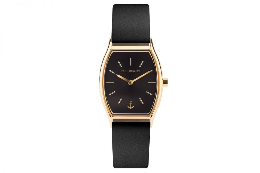 Paul Hewitt PH Modern Edge Black Sunray IP Gold Leather Strap Bl 27mm PH-T-G-BS-32S