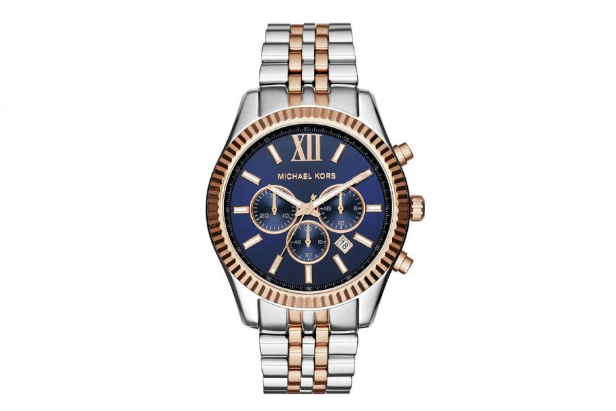 Michael Kors Lexington Chronograph 45 mm staal-goud | MK8412