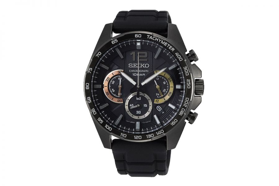 Seiko Chronograph 44MM men Black Steel | SSB349P1