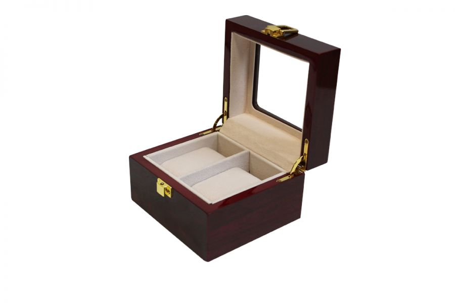 Luxe klassieke houten horlogebox voor 2 horloges | Rood