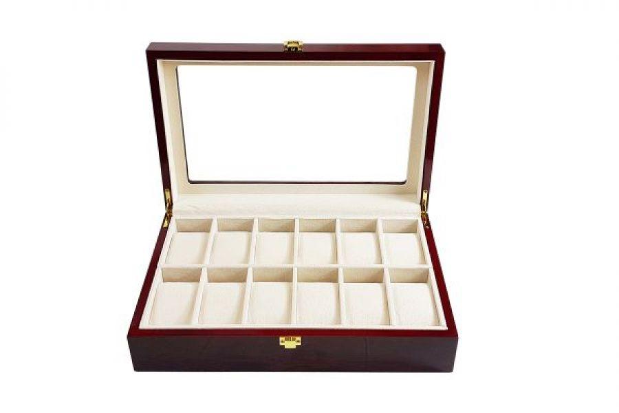 Uitverkocht | Luxe klassieke houten horlogebox voor 12 horloges | Rood