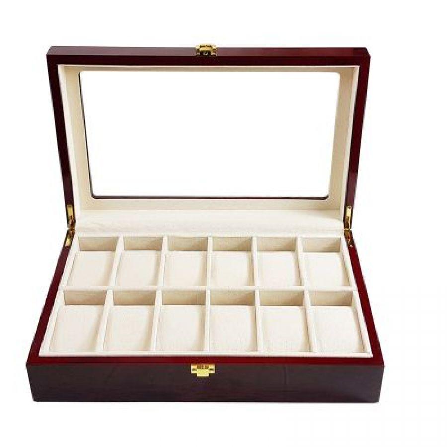 Korting Luxe klassieke houten horlogebox voor 12 horloges Rood