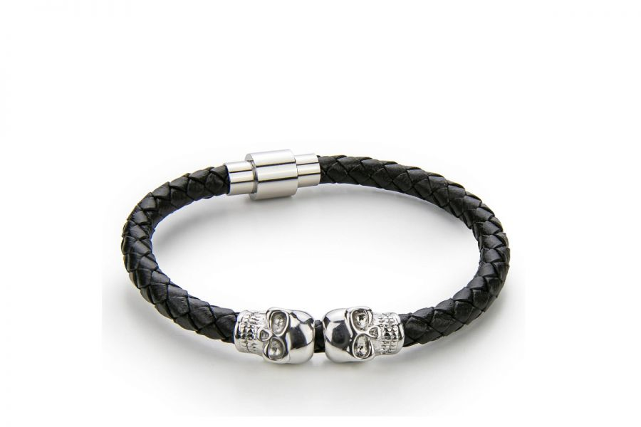 Monomen Men's Genuine Nappa Leather Bracelet MM10827SB