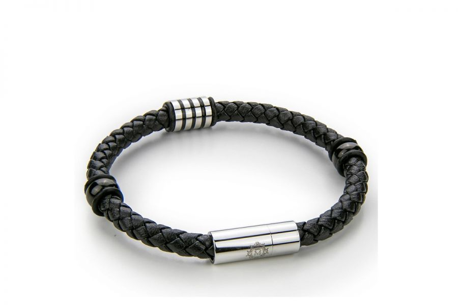 Monomen Men's Genuine Nappa Leather Bracelet MM10828SB