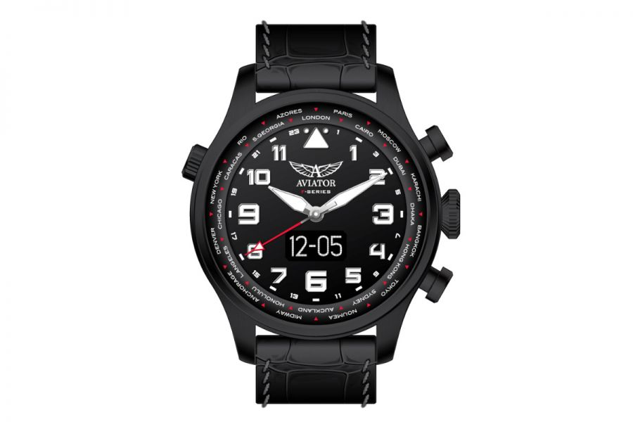 Aviator F-Series Smartwatch 46mm Zwart Staal Leer | AVW79656G421