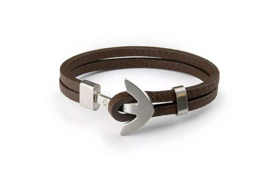 Monomen Men's Brown Leather Silver Anchor Bracelet MM10812