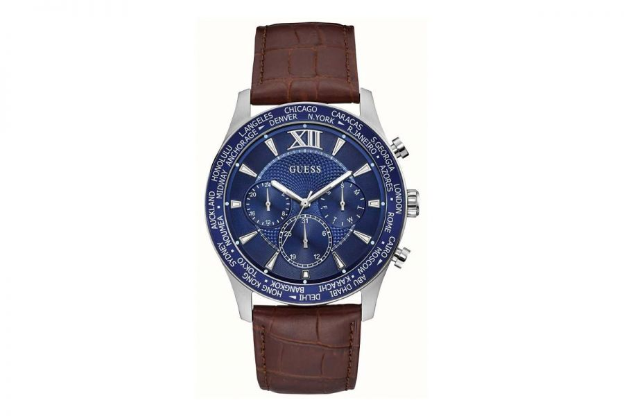 Guess TYCOON Staal Blauw 45mm quartz | W1262G1