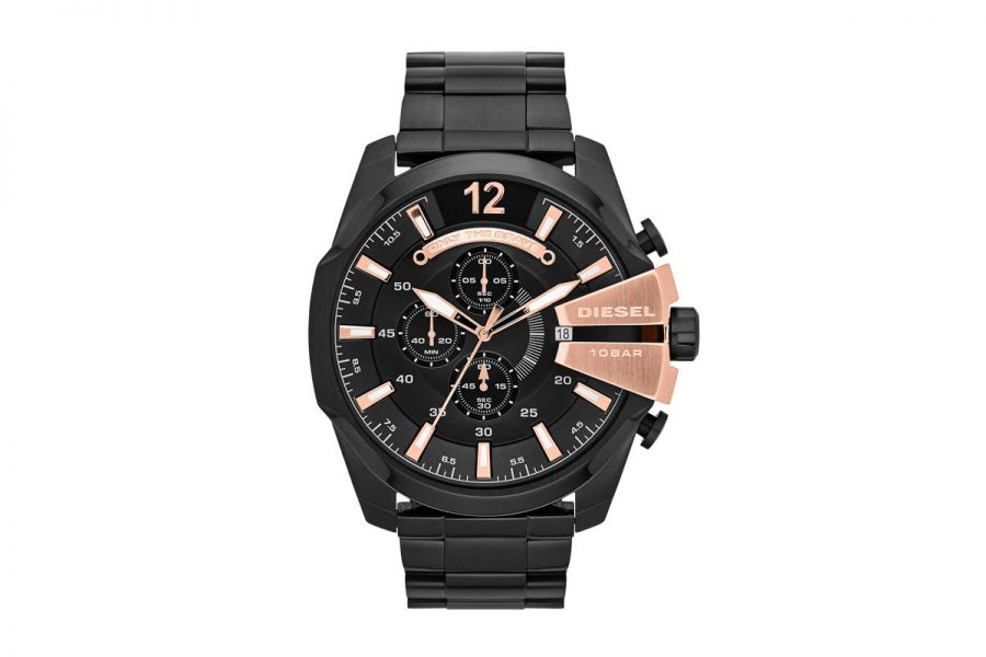 DIESEL Mega Chief XL 52mm Zwart Staal Chronograph | DZ4309