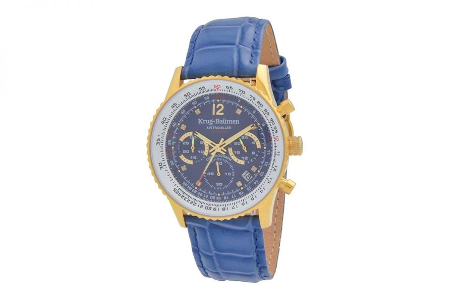 Krug Baumen 410201DS Air Traveller Diamond Heren Horloge 40mm