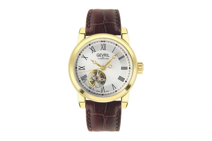 Gevril Men's Madison IPG Silver Dial Brown Leather 2584 Heren Horloge