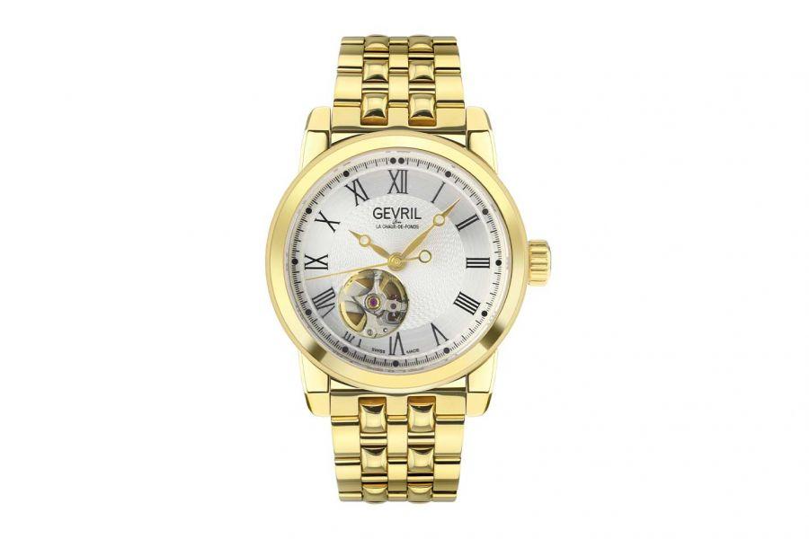 Gevril Men's Madison SS Silver Dial IPG Band 2585 Heren Horloge