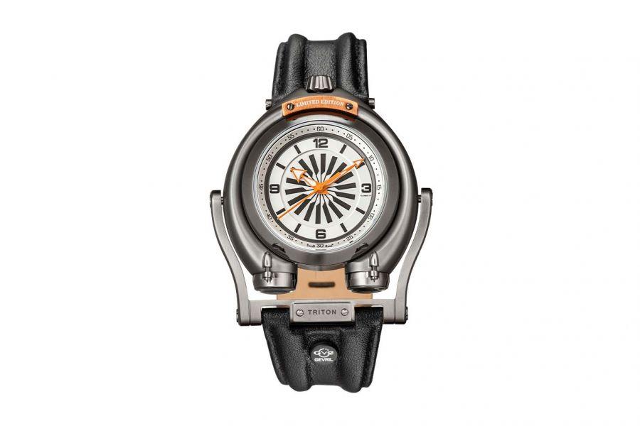 Gevril GV2 Triton Men's Silver Dial Calfskin Leather Watch 3404 Heren Horloge