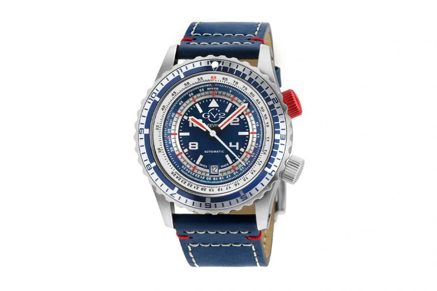Gevril GV2 Contasecondi Men's Blue/Red Dial Blue Calfskin Leather Watch 3507 Heren Horloge