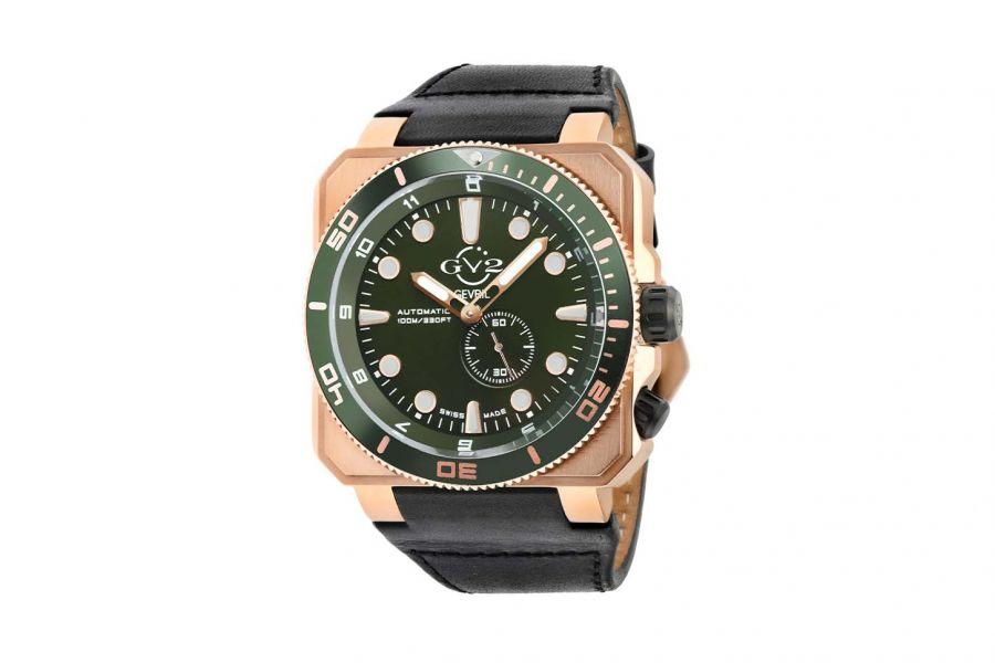 Gevril GV2 Automatic Men's XO Submarine Green Dial IP RG Case Black Calfskin Leather Watch 4533 Heren Horloge