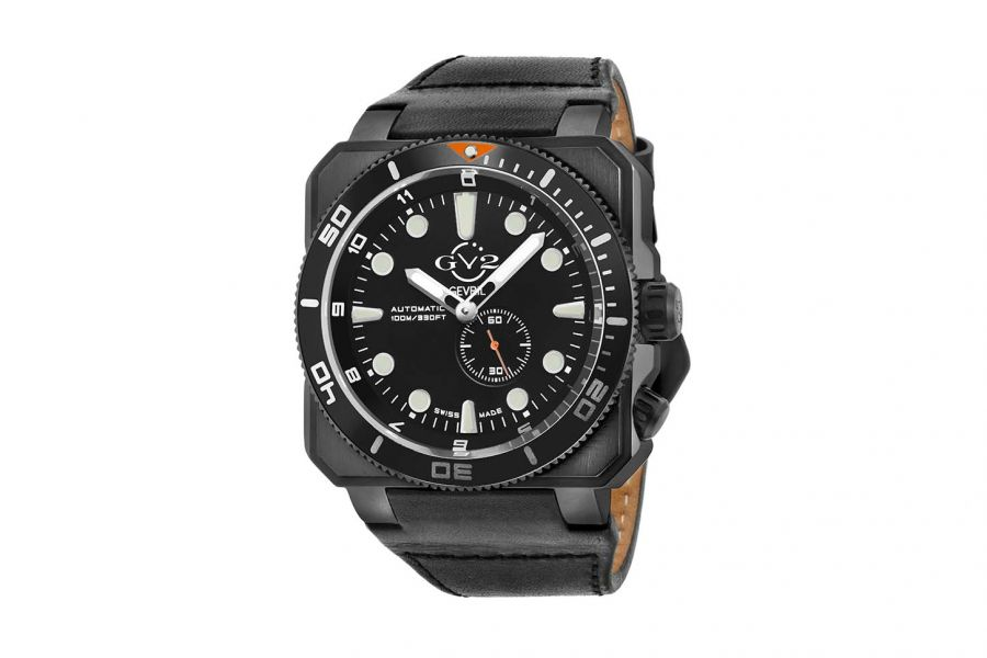 Gevril GV2 Automatic Men's XO Submarine Black Dial Black Case Black Calfskin Leather Watch 4534 Heren Horloge