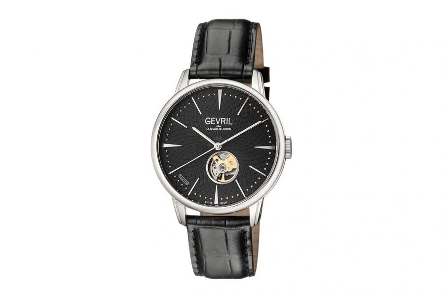 Gevril Men's Mulberry Black Dial Calfskin Leather Watch 9600 Heren Horloge