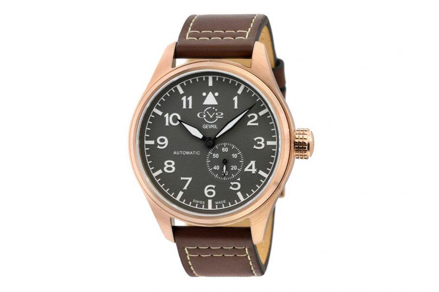 Gevril GV2 Men's Aeuronautica Grey Dial Brown Calfskin Leather Watch 18004 Heren Horloge