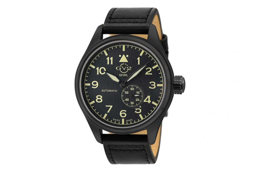 Gevril GV2 Men's Aeuronautica Black Dial Black Calfskin Leather Watch 18005 Heren Horloge