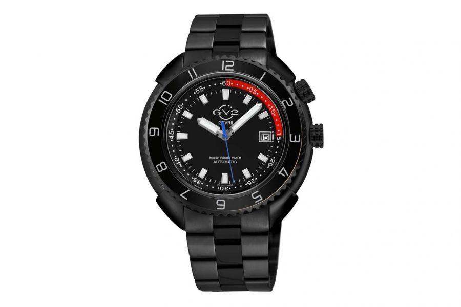 Gevril GV2 Squalo Men's Swiss Automatic Black Dial IP Black Bracelet Date Watch 42403 Heren Horloge