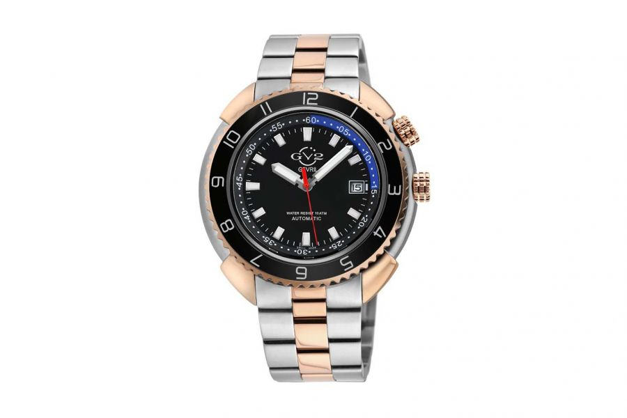 Gevril GV2 Squalo Men's Swiss Automatic Black Dial Two Tone Bracelet Date Watch 42404 Heren Horloge