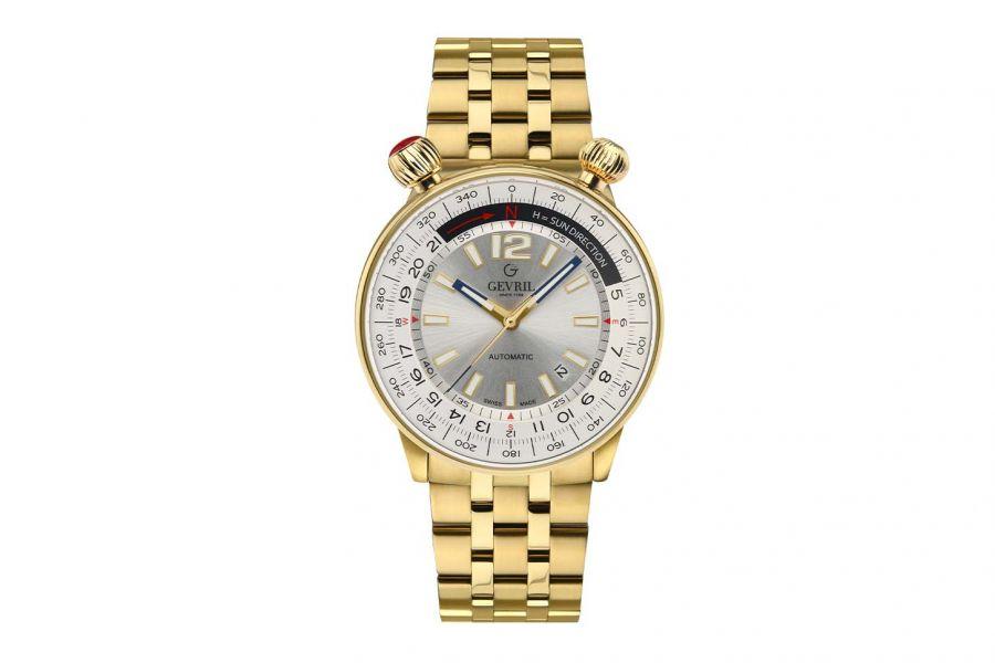 Gevril Men's Wallabout Silver Dial IPYG Watch 48565 Heren Horloge