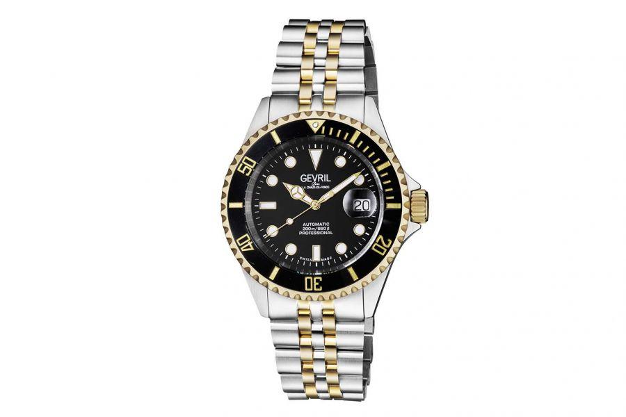 Gevril Men's Wall Street Black Dial Two Tone IP Gold Stainless Steel Bracelet Watch 4855B Heren Horloge
