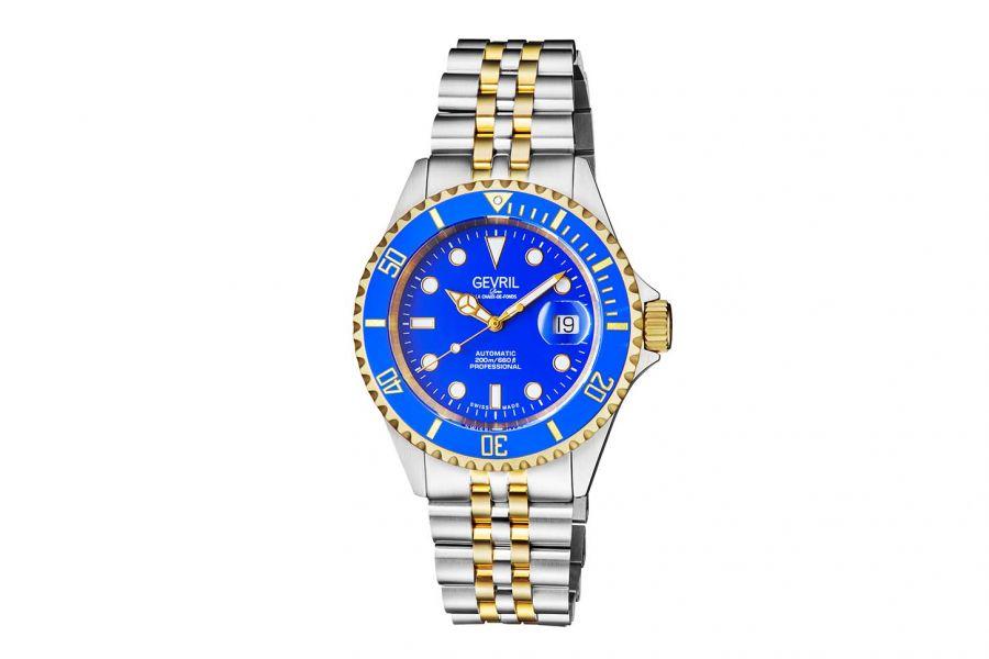 Gevril Men's Wall Street Blue Dial Two Tone IP Gold Stainless Steel Bracelet Watch 4856B Heren Horloge
