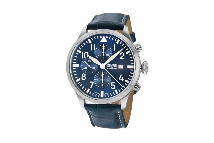 Gevril Men's Canal  St Automatic Chronograph Blue Watch 46111 Heren Horloge