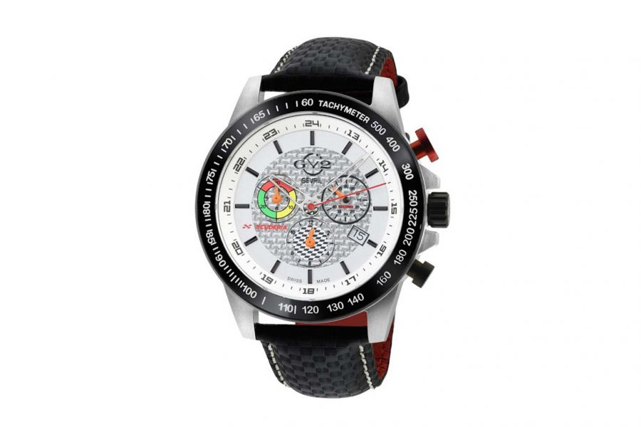 Gevril GV2 Men's Scuderia White Dial Black Leather Chronograph Date Watch 9920