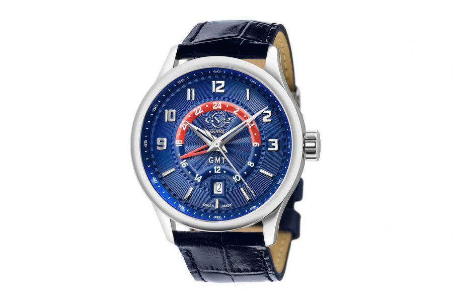 Gevril GV2 Men's Giromondo Blue Dial Blue Calfskin Leather Watch 42302