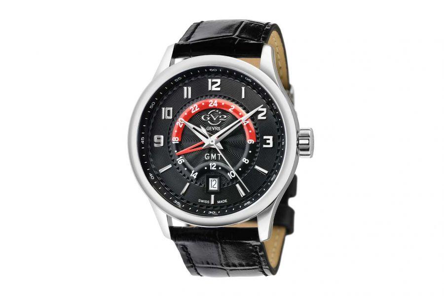 Gevril GV2 Men's Giromondo Black Dial Black Calfskin Leather Watch 42303