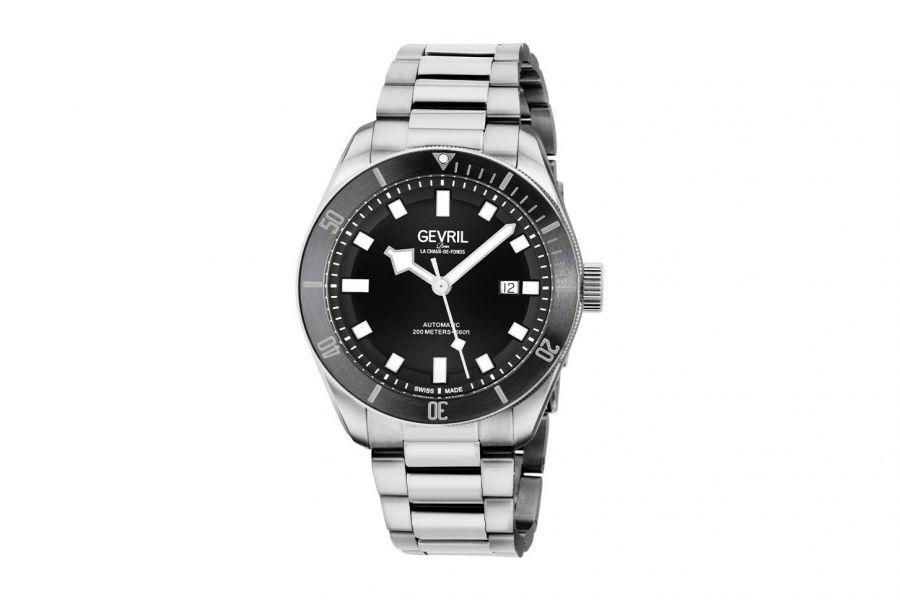 Gevril Men's Yorkville Automatic Stainless Steel Bracelet Black 48600 Heren Horloge