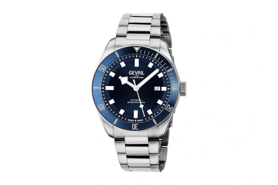 Gevril Men's Yorkville Automatic Stainless Steel Bracelet Blue 48601 Heren Horloge