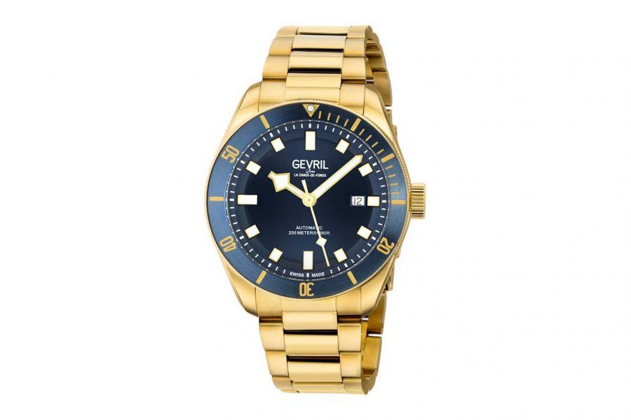 Gevril Men's Yorkville Automatic Gold Bracelet Blue 48602 Heren Horloge