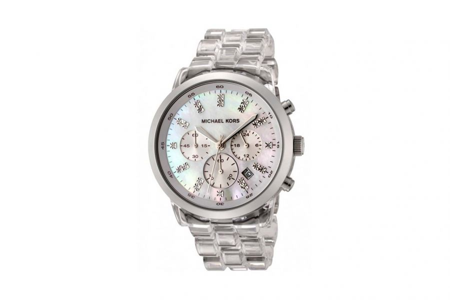 Michael Kors Crystal Chronograph Polycarbonate Staal 44mm | MK5235