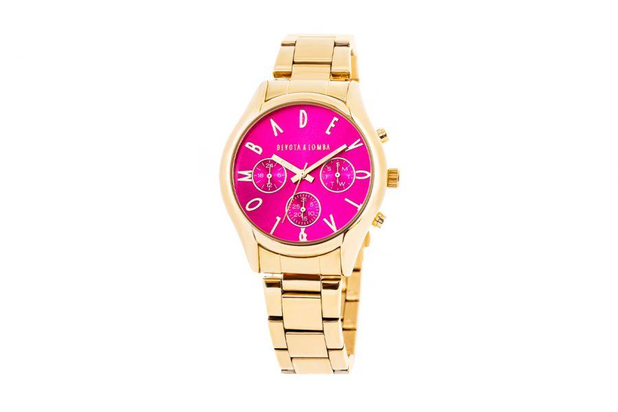 Devote & Lomba DL002UMF-02FUCHSIA Dames Horloge 42mm 5ATM